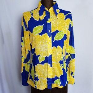 Vintage 1970s floral button down blouse size S